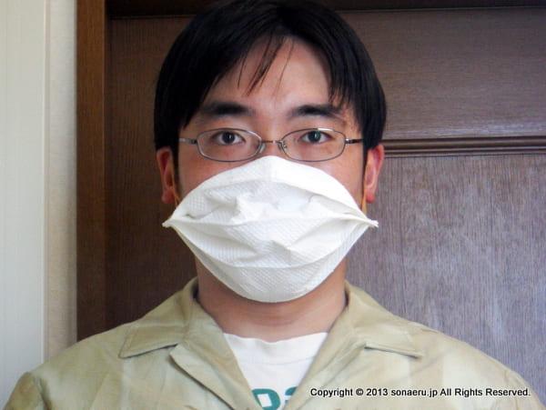 ペーパーマスクの装着。
